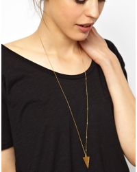 ASOS - Metallic Wear That There Sterling Silver Gold Plated Bright Young Thing Triangle Necklace - Lyst