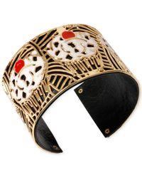 Betsey Johnson | Metallic Gold-Tone Layered Cutout Cupcake Cuff Bracelet | Lyst
