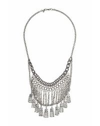 TOPSHOP - Metallic Multi-chain And Rhinestone Necklace - Lyst