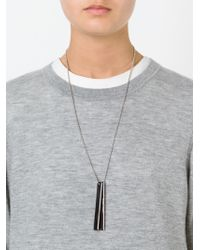Brunello Cucinelli | Black Logo Dog Tag Necklace | Lyst