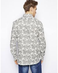 French Connection - White Long Sleeve Floral Shirt for Men - Lyst