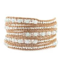 Chan Luu | Natural Amazonite Mix Wrap Bracelet On Beige Leather | Lyst