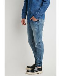 Forever 21 | Blue Paneled Denim Joggers You've Been Added To The Waitlist for Men | Lyst