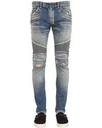 Balmain | Blue Distressed Skinny Biker Jeans for Men | Lyst