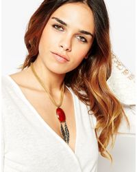 ASOS - Red Amber Effect Stone & Feather Necklace - Lyst