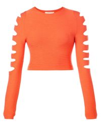 Cushnie et Ochs | Orange Cut Out Cropped Sweater | Lyst