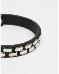 DIESEL - Black Studded Leather Bracelet for Men - Lyst