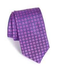 Ted Baker - Purple 'squared Grid Ii' Silk Tie for Men - Lyst