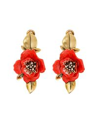 Oscar de la Renta | Red Painted Flower C Earrings | Lyst