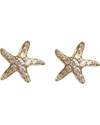 Annoushka | 18ct Yellow Gold And Diamond Love Diamonds Starfish Stud Earrings | Lyst