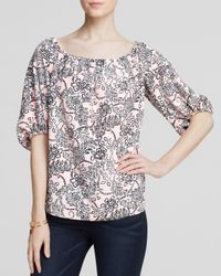 Cooper & Ella | Pink Blouse - Madelyn Off The Shoulder Floral Print | Lyst