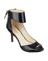 Nine West | Black Instruct Peep Toe Sandals | Lyst