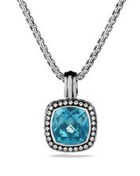David Yurman | Metallic Albion Pendant With Hampton Blue Topaz & Diamonds | Lyst