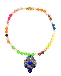 Shourouk | Blue Rosario Necklace | Lyst