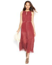Maison Jules - Red Sleeveless Pleated Printed Midi Dress - Lyst