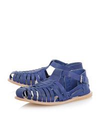 Dune | Blue Fisher Buckle Fastening Casual Sandals for Men | Lyst
