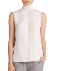 VINCE | White Lasercut Sleeveless Turtleneck | Lyst