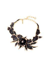 Oscar de la Renta Metallic Orchid Enamel Necklace With Swarovski Crystals