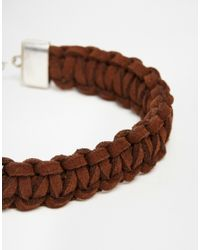 ASOS | Plaited Suede Bracelet In Brown for Men | Lyst