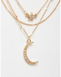 ALDO | Metallic Huzza Multirow Moon Necklace | Lyst
