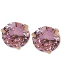 Steve Madden - Pink Rose Goldtone Cubic Zirconia Stud Earrings - Lyst