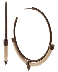 Vince Camuto - Brown Bronzetone Leather Inlay Hoop Earrings - Lyst