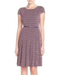 Eliza J Purple Print Jersey Fit & Flare Dress