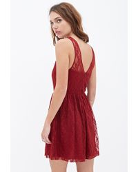 Forever 21 - Red Floral Lace Skater Dress - Lyst