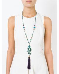 Katerina Psoma | Blue Beaded Snake Tassel Pendant Necklace | Lyst