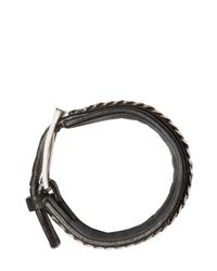Emanuele Bicocchi - Black Nappa Leather & Chain Cuff Bracelet for Men - Lyst