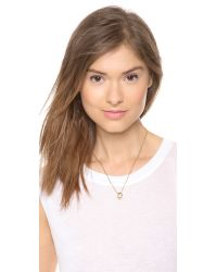 Michael Kors - Metallic Pave Pendant Rings Necklace Gold - Lyst