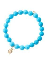 Sydney Evan - Blue 8mm Turquoise Beaded Bracelet With 14k Gold/diamond Medium Ladybug Charm (made To Order) - Lyst