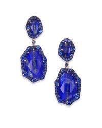 Phillips House - Blue Lenox Lapis, Sapphire & 14K Yellow Gold Medium Drop Earrings - Lyst