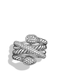 David Yurman | Metallic Renaissance Crossover Ring With Diamonds | Lyst