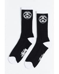 Stussy - Black Link Sock for Men - Lyst