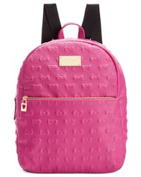 Betsey Johnson | Pink Macy's Exclusive Debossed Bow Mini Backpack | Lyst