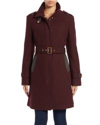 Cole Haan | Purple Belted Wool-blend Coat | Lyst