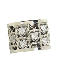 King Baby Studio | Metallic Heart Patterned Ring With Cz Stones | Lyst