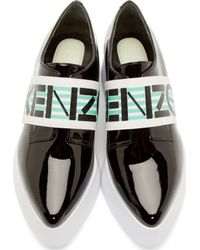 KENZO - Black Patent Leather Platform Loafers - Lyst