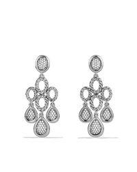 David Yurman - Metallic Sculpted Cable Chandelier Earrings With Diamonds - Lyst