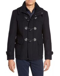 Michael Kors - Blue Wool Blend Duffle Coat With Removable Hood for Men - Lyst