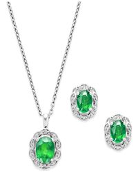 Macy's - Green Emerald (2 Ct. T.w.) And Diamond Accent Jewelry Set In Sterling Silver - Lyst