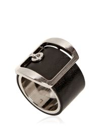 Givenchy - Black Buckle Leather Ring for Men - Lyst