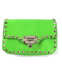 Valentino | Green Rockstud Pochette | Lyst