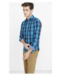 Express - Blue Soft Wash Plaid Shirt - Tempest Red for Men - Lyst