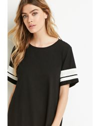 Forever 21 - Black Varsity-striped T-shirt Dress - Lyst