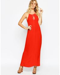 ASOS   Red Swing Maxi Dress With Eyelets And Lace Up Detail   Lyst