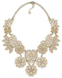 Carolee | Metallic Gold-tone Crystal Openwork Flower Frontal Necklace | Lyst
