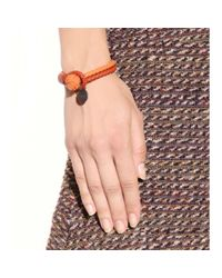 Bottega Veneta - Orange Knot Woven Leather Bracelet - Lyst