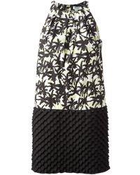 KENZO - Black Palm Print Shift Dress - Lyst